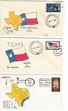 Austin TEXAS 3 Covers 1957-60 Independence and Admittance Days Hand inked !!