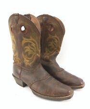JUSTIN Brown Leather Green Orange Stitch Design Cowboy Boots Men's Size 12EE