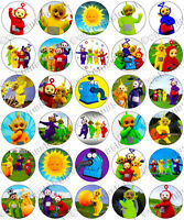 30 x Teletubbies Party Edible Rice Wafer Paper Cupcake Toppers