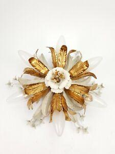 Vintage Italian Gilt Metal Flower Wall Sconce Ceiling Light Hollywood Regency