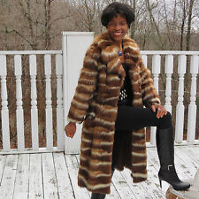 Designer Full length white & brown skunk,  American Sable Fur Coat Jacket XS O-2