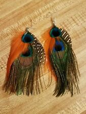 peacock feather jewelry peacock feather earrings with orange hackle feathers NWT