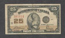 1923 Twenty-Five Cents DC-24c F ** SCARCE Dominion of Canada OLD 25¢ Shinplaster