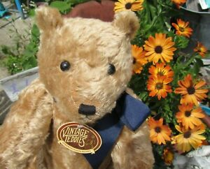 """VINTAGE TEDDY BEAR COOPERSTOWN BEARS PRIVATE ISSUE 21"""" GOLD MOHAIR TAGS CLAWS"""