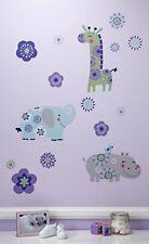 Carter's Zoo Jungle/Safari Floral Wall Decals, Lavender/Aqua/Green