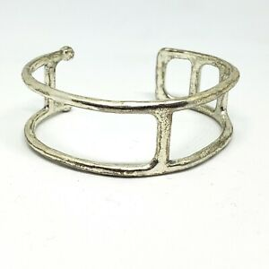 Lucky Brand Silver Tone Cuff Bracelet Minimalist Metal Jewelry Simple Versatile
