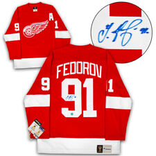 Sergei Fedorov Detroit Red Wings Autographed Fanatics Vintage Hockey Jersey
