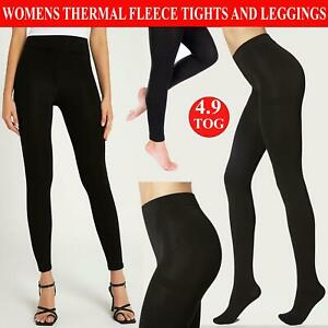 Womens Thermal Fleece Lined Tights Ladies Full Foot Footless Winter Wear 4.9 Tog