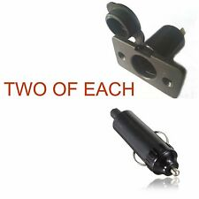 2 X Waterproof cigarette lighter power sockets and plugs Marine use or 4wd camp