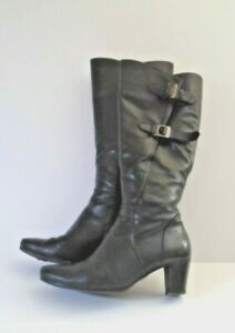 Gabor Spook Long Knee Length  Boots UK 5 Black Leather Adjustable Calf USED