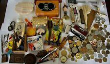 New listing Vintage & Antique Junk Drawer Lot: Lighters, Political Pins, Coins, Tins, Razors