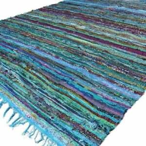 Chindi Rug Floor Yoga Area Rag Rug Mat Multi Carpet Hand-Woven Indian Home Decor