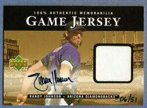 RANDY JOHNSON 2000 UPPER DECK GAME JERSEY AUTOGRAPH #D /51 HOF DIAMONDBACKS SSP