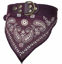 Pet Dog Puppy Cat Neck Scarf Bandana with Leather Collar Neckerchief Adjustable