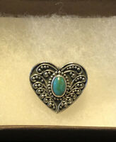 Lori Bonn 925 Sterling Silver Heart Turquoise Sliding Charm (no Bracelet). EUC