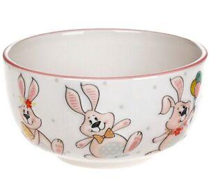 Easter Bunny Porcelain Bowl. Piala for Cereal,Soup,Ice Cream, 20 fl oz, Pink