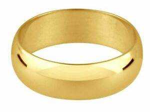 """9ct Gold D Shaped Wedding Ring Band """"New & Hallmarked"""""""