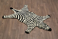 Zebra Wool Skin Rug Hand Crafted Plush and Soft Pile Free Shipping to USA/Canada