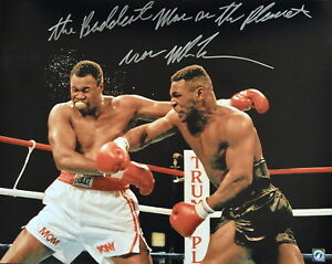 Iron Mike Tyson Autographed Signed 16x20 Photo Punching Larry Holmes ASI Proof
