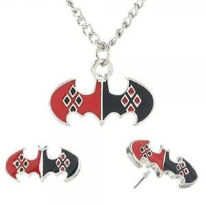 DC Comics Batman Harley Quinn Logo Necklace and Earring Set, NEW UNUSED