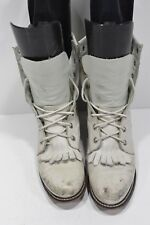JUSTIN 519 VINTAGE WOMENS 4 B WHITE LEATHER LACERS LACE UP WESTERN COWBOY BOOTS