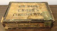 VTG ANTIQUE RARE 1920s WOLF BROS. RUM SOAKED CROOKS WOOD CIGAR BOX