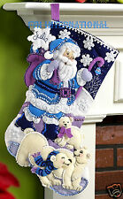 "Bucilla Arctic Santa ~ 18"" Felt Christmas Stocking Kit #86653 Polar Bears, Blue"