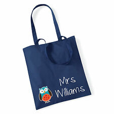 Personalised Owl 100% Cotton Tote Bag - Teacher Gift School Books Christmas