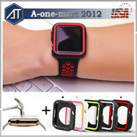 Silicone Bumper Case Cover + Screen Protector for Apple Watch Series 3 38mm 42mm