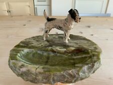 More details for art deco cold painted fox terrier on ring tray.1920s dressing table tray.