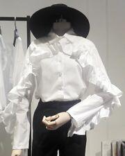Women Ladies Lolita Gothic Flash Sleeve Ruffle Vintage Blouse White Top Faddish