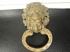 EARLY SOLID BRASS RUSTIC DOOR KNOCKER FIGURAL LION HEAD SCLUPTURE