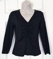 CLUB MONACO Top Black Stretchy Nylon 3/4-Sleeves V-Neck Shirt SZ Medium
