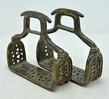Antique Brass Horse Saddle Stirrups Pair Original Old Hand Crafted Fine Engraved