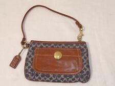 COACH Wristlet Signature Denim Leather RARE Tattersal Wristlet Bag Wallet