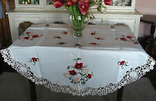 """Embroidered Tablecloth  spring summer Floral Red Ecru 54""""RD/138cm dim"""