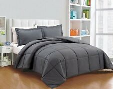 Full Size All Season Down Alternative Comforter Egyptian Cotton Gray Solid