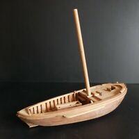 Bateau barque maquette bois fait main vintage art déco marin design XXe N5207