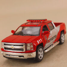 2014 Chevrolet Silverado Dual Cab Ute Red Firefighter 1:46 13 DieCast Pull Back
