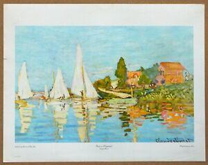 Monet Boats at Argenteuil Vintage 1st Limited Edition Original 1960 Lithograph