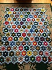 HANDMADE BEAUTIFUL YO YO QUILT COVERLET BLUE WITH FLOWERS 45 X 56