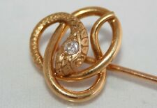 Outstanding Antique Victorian 18ct Gold Diamond Snake Stick Pin / Tie Pin Boxed