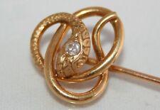 Eccezionale Antico Vittoriano 18ct Oro Diamante Serpente STICK PIN/Tie Pin in Scatola
