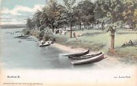 Rockford Illinois~Love's Park~Couples on Rock River Bank~Boats~1908 Postcard