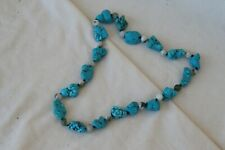 VINTAGE CHUNK TURQUOISE AND STONE NECKLACE. 24 INCHES LONG. GOOD CONDITION.