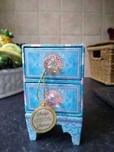 PUNCH STUDIO Rose Soap Keepsake Box 2 Drawers Jewelled Knobs Very Pretty EMPTY