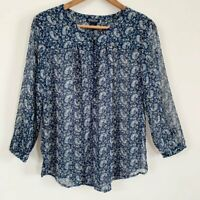 Lucky Brand Womens Semi-Sheer Blue Floral Print Boho Peasant Top Long Sleeve L
