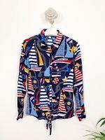 Tu Sail Boat Blouse Shirt Sz 8 Blue Mix Long Sleeve Button Blogger Front Tye