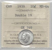 **1939 Double 19**, ICCS Graded Canadian,  10  Cent, **MS-64**