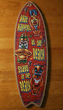 WHAT HAPPENS AT THE BEACH STAYS Tiki Idols Cantina Bar Surfboard Decor Sign NEW